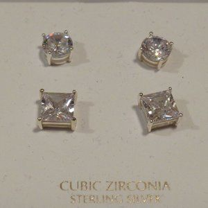 Giani Bernini 925 SS CZ 2 Pair Earrings - New